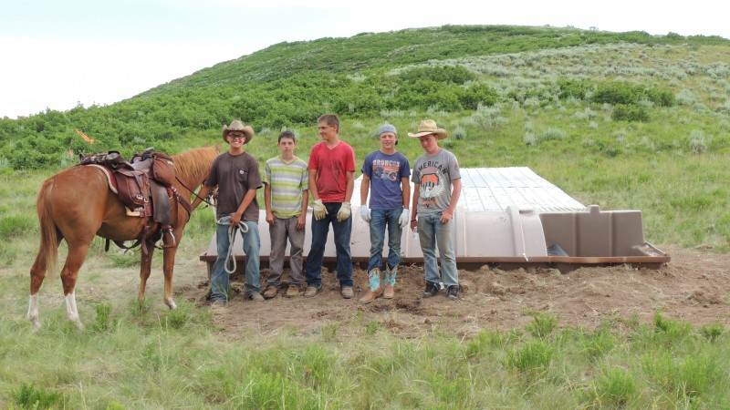 Construction crews accessed the guzzler sites on horseback, constructed the guzzlers then packed all tools and equipment out with horses and mules.